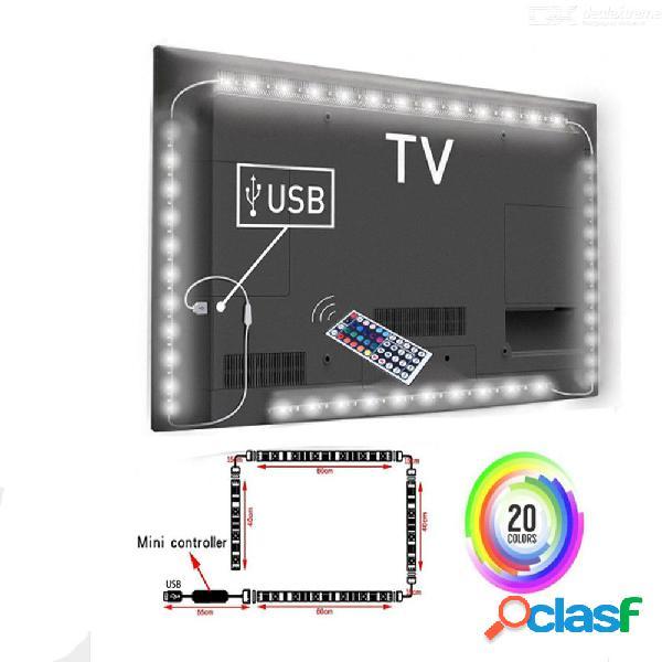 2x50cm + 2x100cm 5v usb rgb luces de tira led 5050 smd luz de tira de hadas tv kit de iluminación trasera 44key control remoto