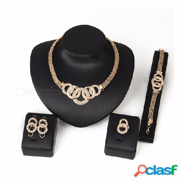 Collar de diamantes de cristal de moda / aretes / anillo / juego de pulsera, juego de joyas de 4 piezas para mujeres niñas oro