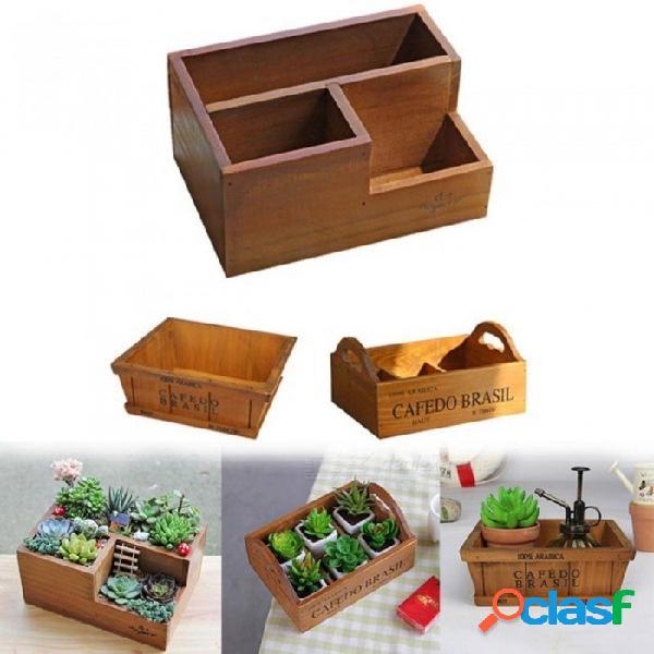 Macetas de madera para plantas suculentas vivero jardinera ventana caja flor a través de maceta plantas jardín suministros 01