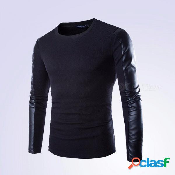 Otoño pu cuero costura manga larga cuello redondo camiseta de los hombres, camiseta masculina ocasional camiseta superior negro / m