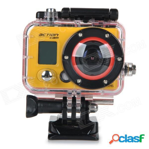 """Rd990c resistente al agua 1.5"""" hd 1080p cmos 3.0mp de gran angular cámara de vídeo de deportes al aire libre - amarillo"""