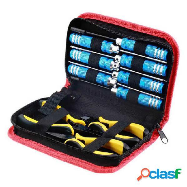 10-en-1 kit de herramientas destornillador alicates w / caja para helicóptero plano rc modelo de coche - azul + amarillo