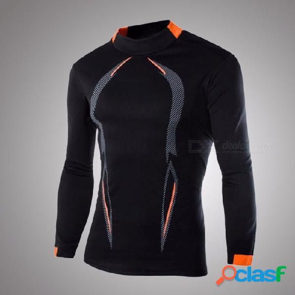Camisa de manga larga deportiva casual de otoño para hombres o-cuello de secado rápido elástica ajustada transpirable ajustada camisa negro / m