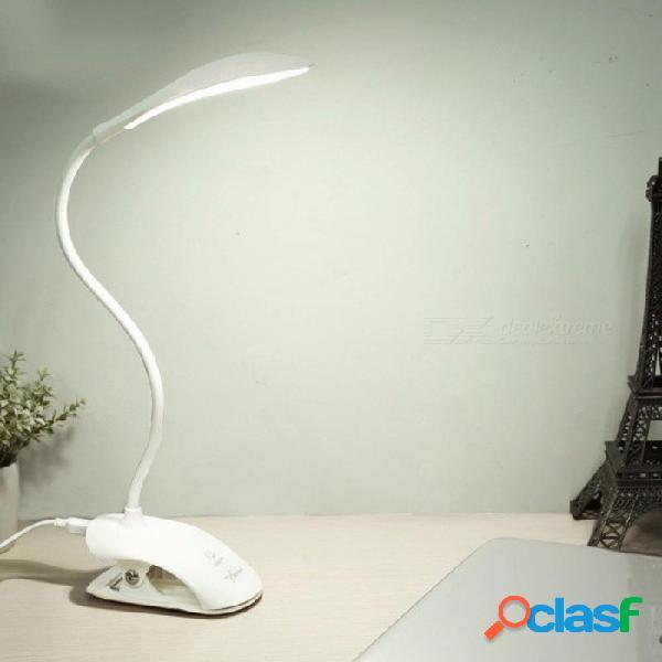 Lámpara de escritorio usb llevó la lámpara de mesa 14 led lámpara de mesa con cama de clip lectura libro luz lámpara de escritorio led mesa táctil 3 modos blanco / 0-5w