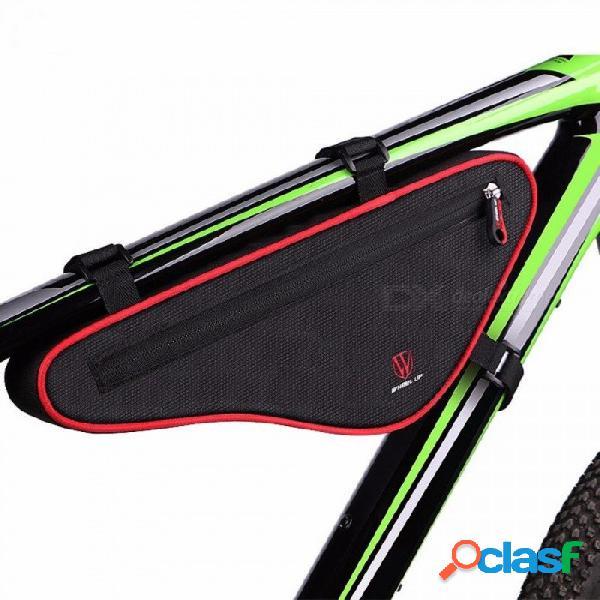Rueda Hacia Arriba Impermeable Triángulo Exterior Bicicleta Tubo Delantero Marco Bolsa Gran Capacidad De Nylon MTB Ciclismo Bolsa Delantera Roja