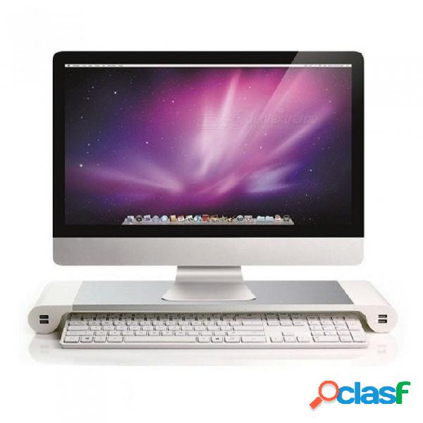 Soporte de base de monitor de pc portátil soporte de aleación de aluminio para computadora de escritorio portátil soporte de soporte antideslizante con carga usb con enchufe de la ue