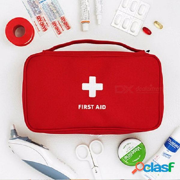 Viaje al aire libre bolsa de medicina grande bolsa de almacenamiento de pastillas de camping primeros auxilios caso de emergencia kit de supervivencia caso rojo