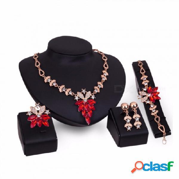 4-en-1 moda rhinstones decorado collar colgante de cristal cuelga los pendientes pulsera anillo de conjuntos de joyas para las mujeres rojas
