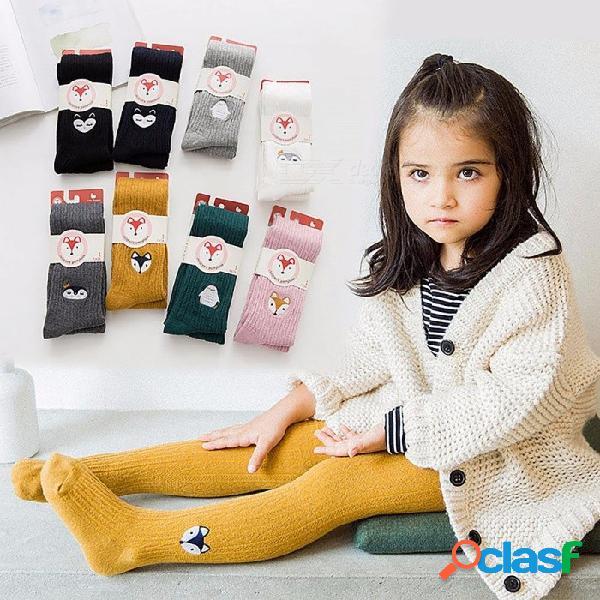 Bordado otoño dibujos animados niños niña medias pantimedias, medias suaves de algodón suave para niños de 2-12 años (1 par) 2-3t