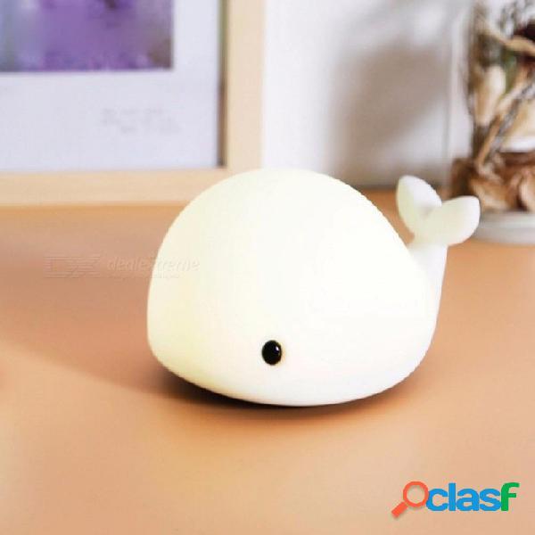 Delfín lindo estilo usb usb recargable luz de la noche bebé ballena multicolor luz led de silicona lámpara pat blanco