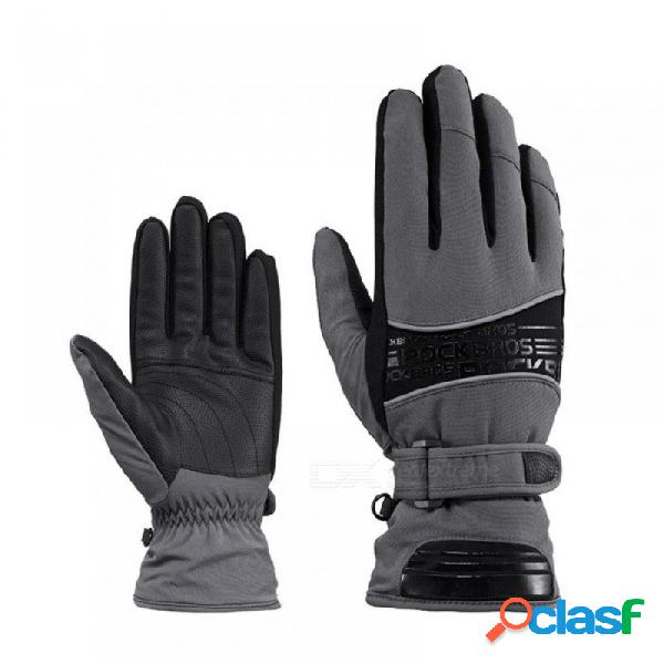 Guantes de esquí a prueba de agua de 30 grados guantes de snowboard snowmobile guantes de nieve deportes ropa de abrigo guantes de esquí térmico s / negro