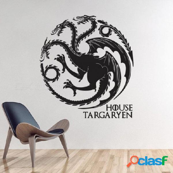 Juego de tronos casa targaryen etiqueta de la pared decoración para el hogar diy tatuajes de pared animal dragones patrón de color negro s 28 cm x 31 cm / negro
