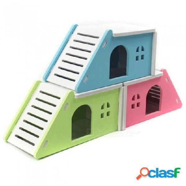 17x9x8.5cm de dibujos animados hámster juguete nido pequeño animal casa de madera cama jaula nido pet erizo castillo juguete mascota casa azul