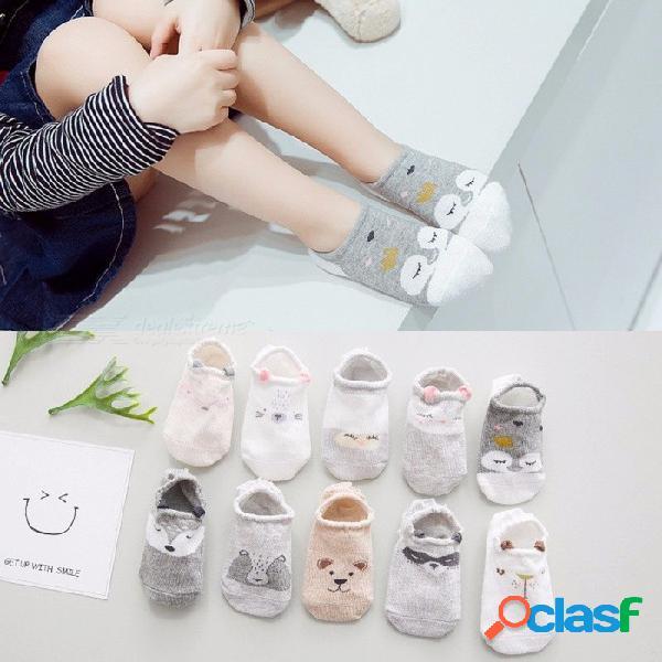 5 pares de algodón de verano unisex calcetines de barco de los niños de dibujos animados lindo calcetines de silicona antideslizante para 1-8 años gris / 2-3t
