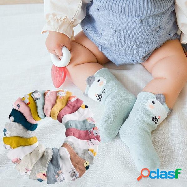 5 pares de calcetines de algodón de niños niñas calcetines de niños para calcetines de dibujos animados de alpaca para 1-5 años de edad rosa / 2-3 t