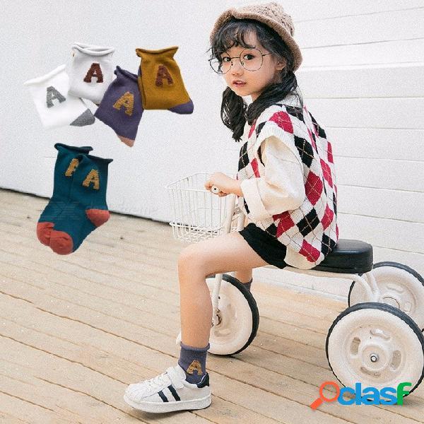 Calcetines de algodón para niños de otoño e invierno calcetines preciosos tridimensionales de dibujos animados lindo animal 5 pares para 1-8 años de edad beige