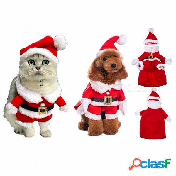 Chic santa claus traje de perro de navidad traje de gato caliente, ropa de abrigo de algodón para la primavera, otoño, traje de l / santa traje de invierno
