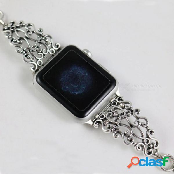 Enlace de la correa de la correa de la vendimia para el reloj de apple metal tallado reemplazo de muñequera para iwatch mujer reloj de moda banda 42mm