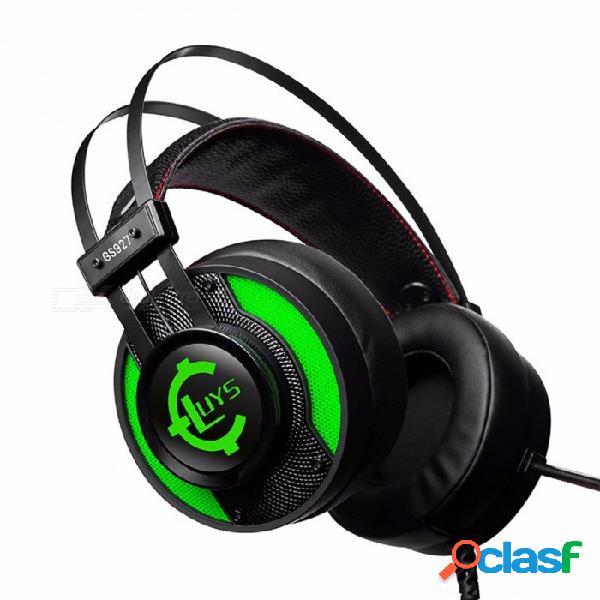 Gs92 internet café juego de iluminación auriculares con cable interfaz usb auriculares para juegos verde