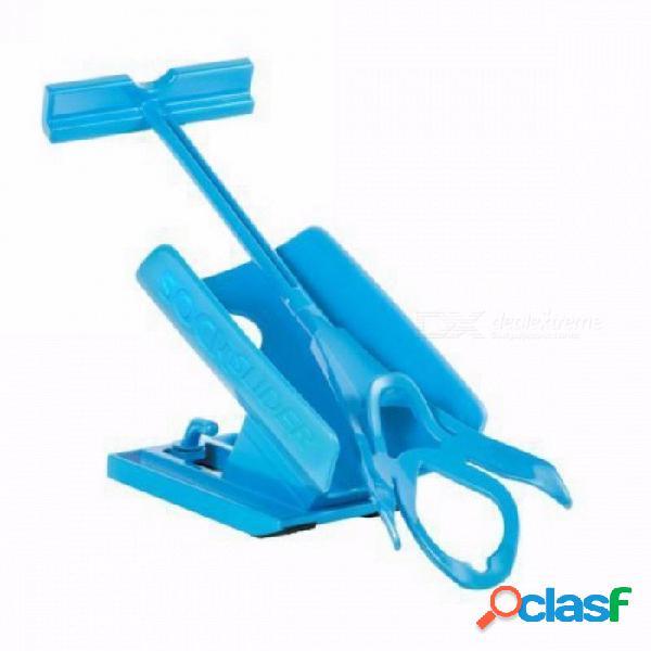 Mayitr kit de ayuda para el deslizador portátil de calcetín para ayudar a calzarse los calcetines, sin cuerno de zapato de flexión, adecuado para calcetines azules