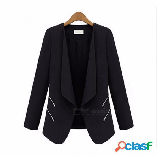 Traje de primavera y otoño chaqueta de la personalidad personalidad bolsillo con cremallera delgado traje - negro