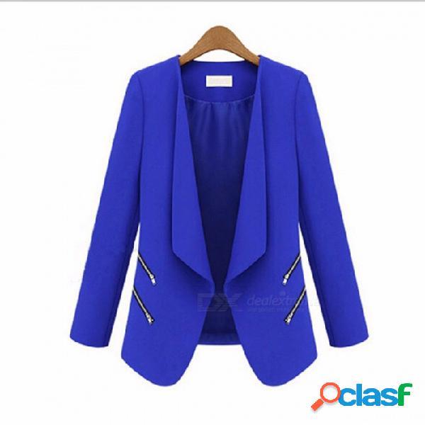 Traje de primavera y otoño chaqueta de la personalidad personalidad bolsillo con cremallera delgado traje - azul