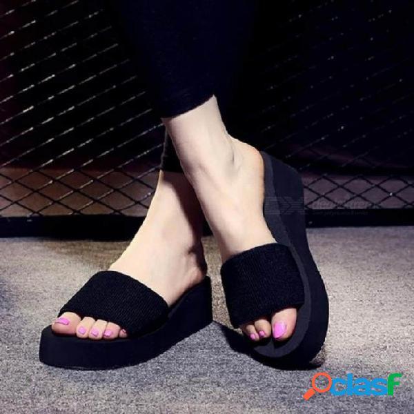 Zapatos de mujer de verano plataforma baño zapatillas cuña sandalias de playa zapatillas de tacón alto para mujer marca negro eva zapatos de mujer