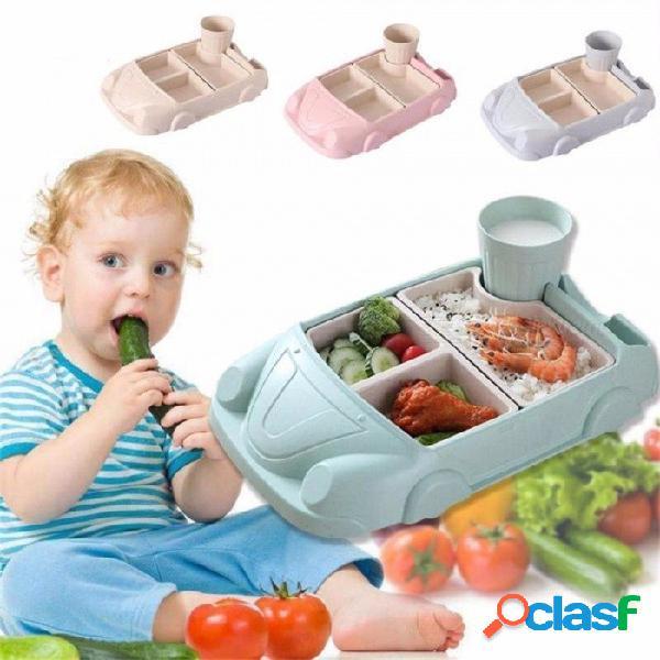 Contenedores de comida para bebés platos de entrenamiento de fibra de bambú juego de alimentación para bebés forma de coche taza cuenco conjuntos de platos vajilla para niños