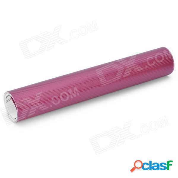 Etiqueta engomada del coche de la hoja de la decoración del papel de la fibra de carbono 3d - púrpura (30 x 200 cm)