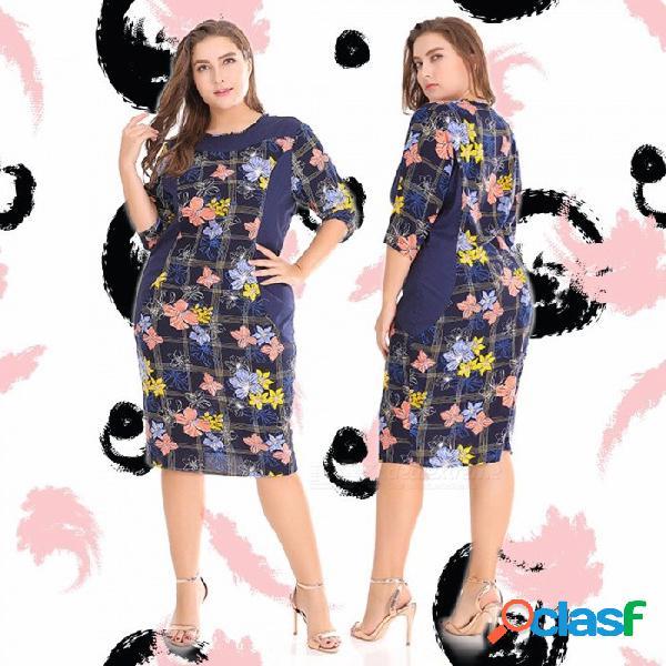 Las mujeres tienen un vestido informal de talla grande o cuello tres cuartos estampado floral otoño vestidos rectos para mujeres azul marino / xl
