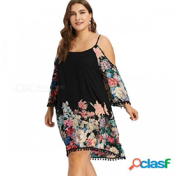 Nueva mujer del verano vestido de talla grande tres cuartos estampado floral borla o-cuello correa de espagueti vestidos para mujeres negro / l