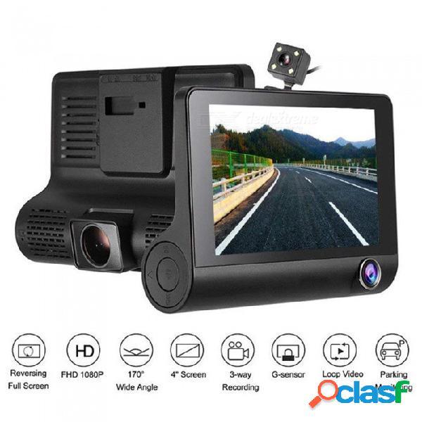 4 pulgadas full hd 1080p dvr coche cámara de la leva tres lentes videocámara soporte g-sensor / detección de movimiento / grabación en bucle