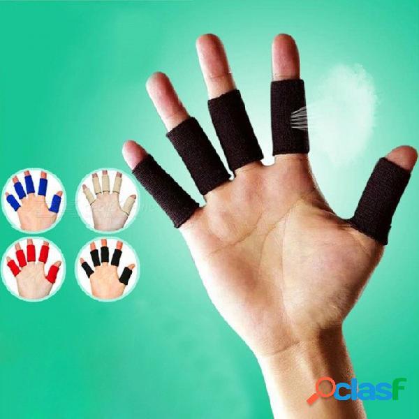 5 unids funda elástica para el dedo, gimnasia para ejercicios, deportes, vendaje de seguridad, protección para los dedos, voleibol baloncesto, protector de dedos, beige