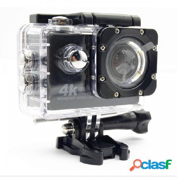 "Cámara de deportes de acción hd portátil de 4k 16mp 4.0x impermeable con cámara wi-fi de 2 "" - negro + blanco"