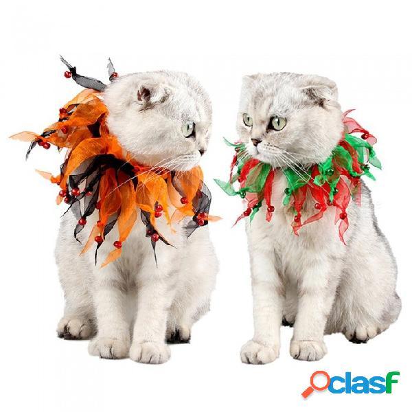 Collar de perro colorido del gato del animal doméstico de la navidad de halloween con la decoración de la campana para el festival rojo del día de fiesta
