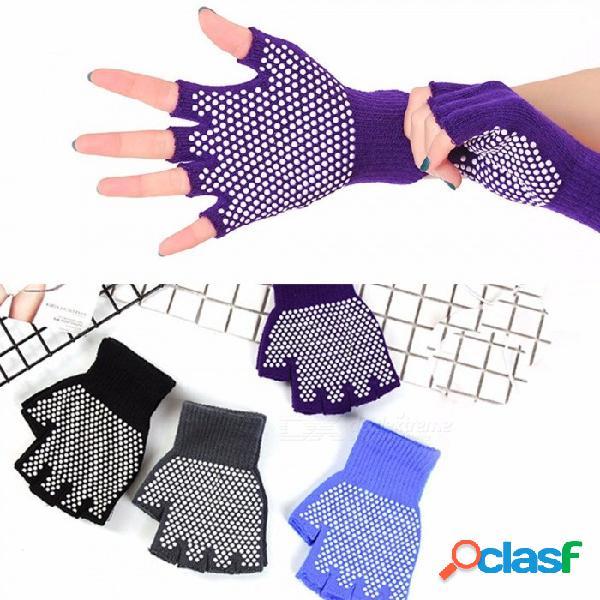 Guantes antideslizantes de silicona de color sólido, guantes antideslizantes de yoga para mujeres de deportes de invierno de color púrpura