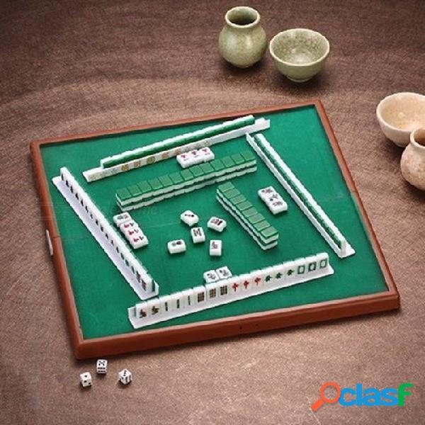 Mahjong portátil de viaje conjunto chino antiguo mini mahjong juegos juegos en casa mini mahjong chino divertido tablero de mesa familiar juego mahjong