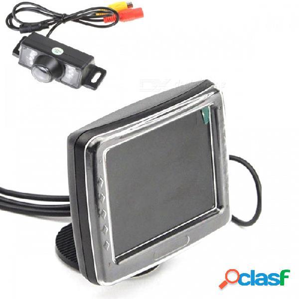 """Monitor lcd de vista trasera de 3.5 """"para automóvil + sistema de cámara de vista trasera e350 - negro"""