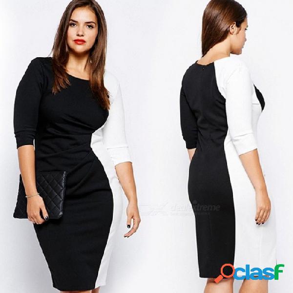 Vestido de talla grande para mujer, tres cuartos, negro, blanco, patchwork, recto, delgado o cuello, vestidos para mujer negro / xxxl