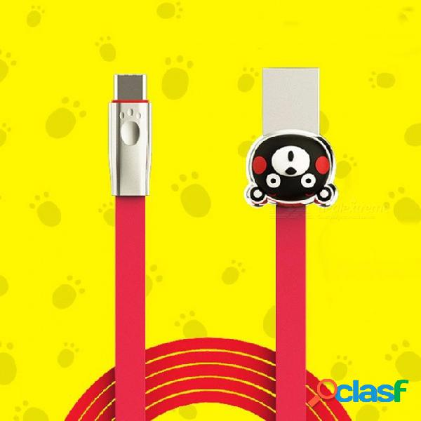 Cables de teléfono móvil romoss usb tipo-c kumamoto llevar cable de cargador de teléfono kcb30 para huawei samsung rojo