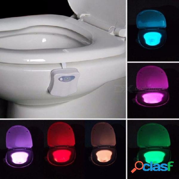 Cuarto de baño inteligente luz nocturna para el baño 8 led de color movimiento del cuerpo activado / desactivado lámpara del sensor del asiento lámpara de luz nocturna para el baño pir blanco