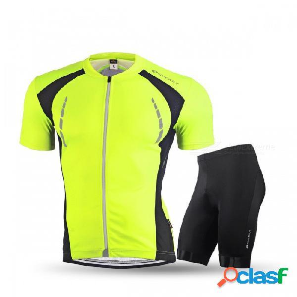 Nuckily jersey de manga corta de ciclismo de verano con pantalones cortos - verde fluorescente / blanco / rojo / azul zafiro