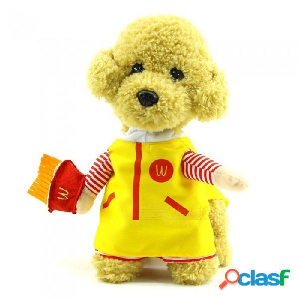 Traje lindo del traje del gato del perro del animal doméstico, ropa del perrito, vestido de halloween del partido amarillo / s