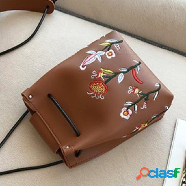 Elegante bolso de cuero bordado con flor mini para teléfonos celulares y artículos pequeños - marrón oscuro