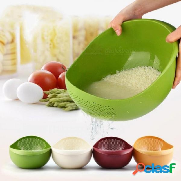 Gran tamaño ambientalmente plástico lavado cesta de arroz frutas verduras desagüe cestas de la cesta accesorios creativos de cocina verde