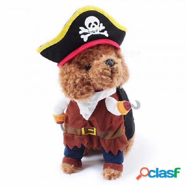 Partido ropa para mascotas gato perro vertical perro pirata mono policía policías de pie cosplay vestidos vestidos - negro