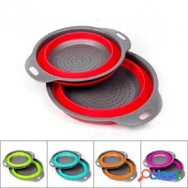 Plegable colador de silicona fruta vegetal lavado cesta canasta mágica colador plegable cocina utensilios gadget doble