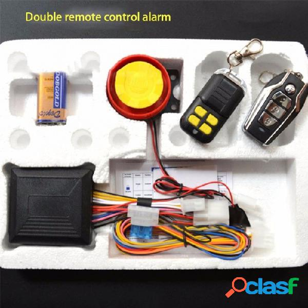 Sistema antirrobo antirrobo de alarma para motocicletas de 12 v, sistema de alerta de seguridad para motocicletas con control remoto 2pcs negro