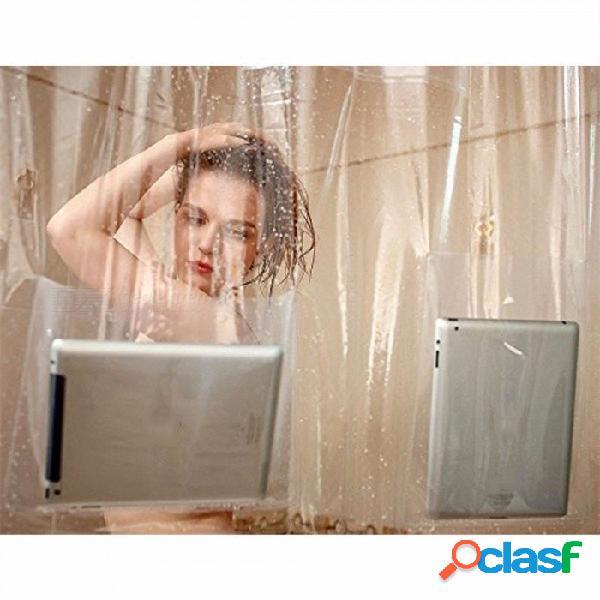 Cortina de ducha transparente con bolsillos, cortinas de baño, soporte para tableta de teléfono, transparente para dispositivos de pantalla táctil para baño claro / 180 * 180 cm