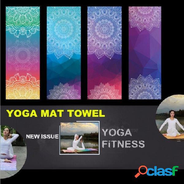 estilo retro portátil toalla de yoga suave estera, deporte ejercicio de gimnasio de fitness pilates entrenamiento cojín de entrenamiento manta marrón